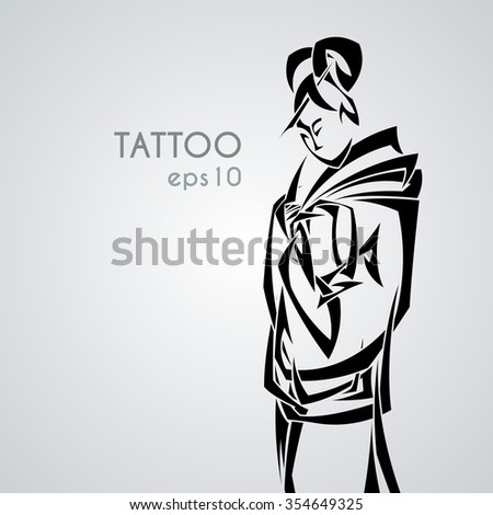 Illustration with graceful Japanese woman in a kimono with a classic hair style. Tribal tattoo. Black and white pointed weave. - stock vector