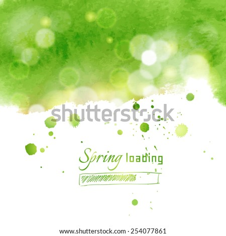 Illustration with green watercolor for spring themes - stock vector