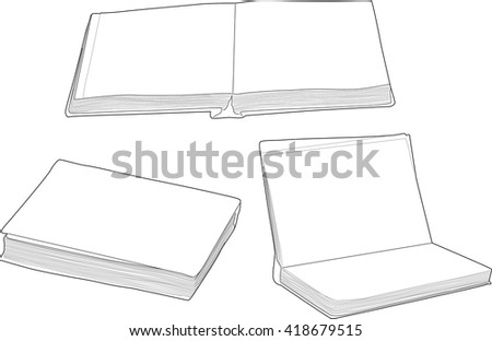 illustration with group of books isolated on white background