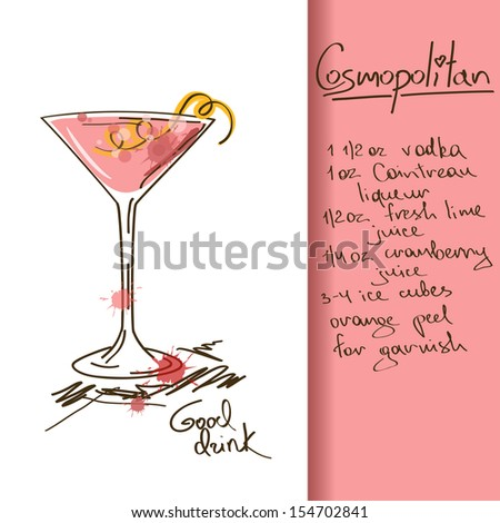 Illustration with hand drawn Cosmopolitan cocktail - stock vector
