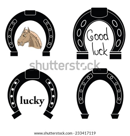 illustration with  horseshoe silhouettes on white background - stock vector