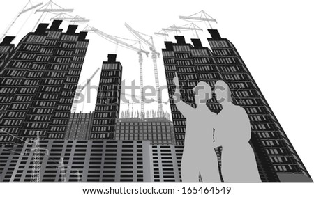 illustration with house building isolated on white background