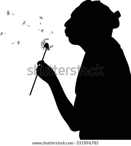 Profile woman face vector, silhouette hand. Pretty girl ...  Face Profile Silhouette Blowing