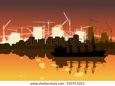 illustration with industrial ship and new city building - stock vector