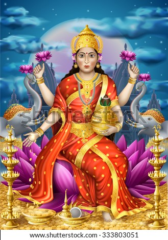 Illustration with Lakshmi the goddess of wealth, EPS 10 contains transparency. - stock vector