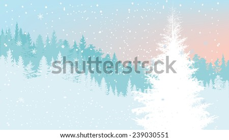 illustration with light blue firs under snowfall