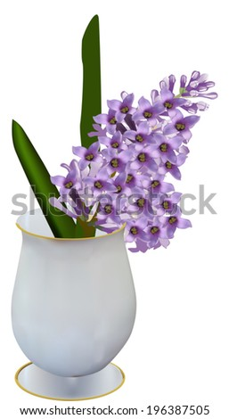 illustration with lilac flower branch in vase isolated on white background