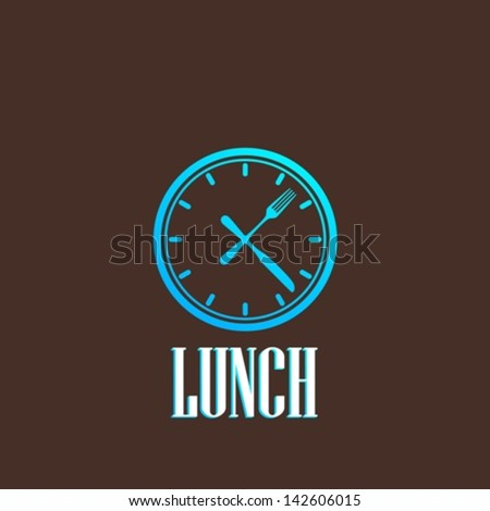 illustration with lunch time icon - stock vector