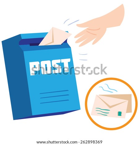 Illustration with mailbox and hand, sending letters by postbox - stock vector