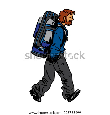 Illustration with man carry big backpack - stock vector