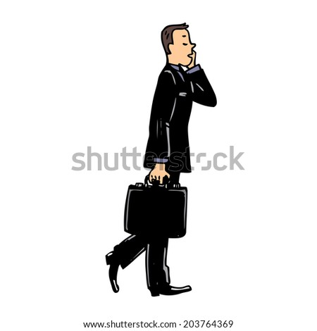Illustration with man talking on the phone - stock vector