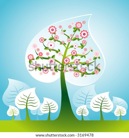 Illustration with many  trees and flower, vector illustration