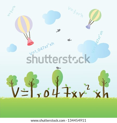 illustration with mathematical formulas - stock vector