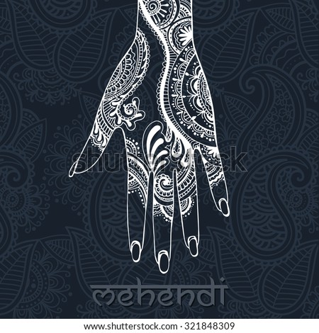 Illustration with mehendi drawing on woman`s hand - stock vector