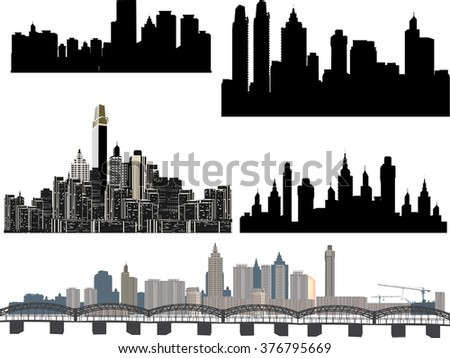 illustration with modern city panoramas on white background