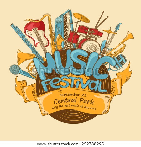 Illustration with musical instruments and vinyl record. Music festival concept. Musical creative invitation - stock vector