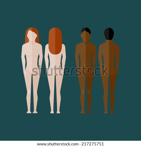 illustration with naked women body (front and back view) in flat style  - stock vector
