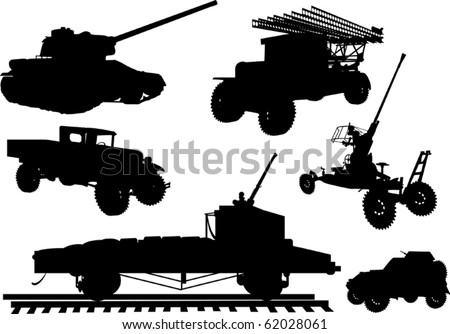 illustration with obsolete armament collection on white background