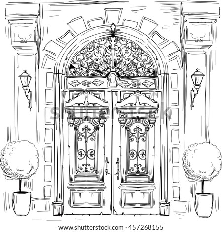 door drawing stock images royalty free images vectors shutterstock. Black Bedroom Furniture Sets. Home Design Ideas