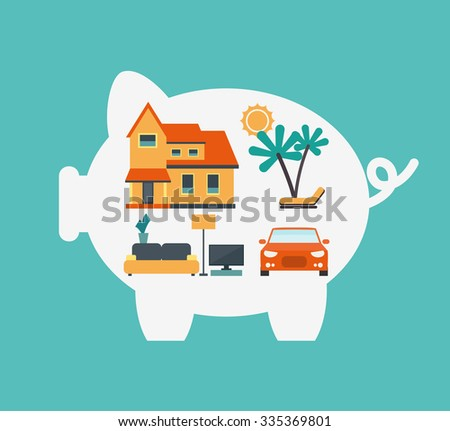Illustration with piggy bank, house, car, furniture and holiday. Saving and investing money concept. Future financial planning concept. Modern vector design flat style. - stock vector