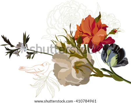 Illustration with pink flowers bouquet isolated on white background. Design elements. - stock vector
