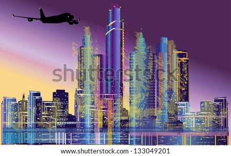 illustration with plane flying near morning city
