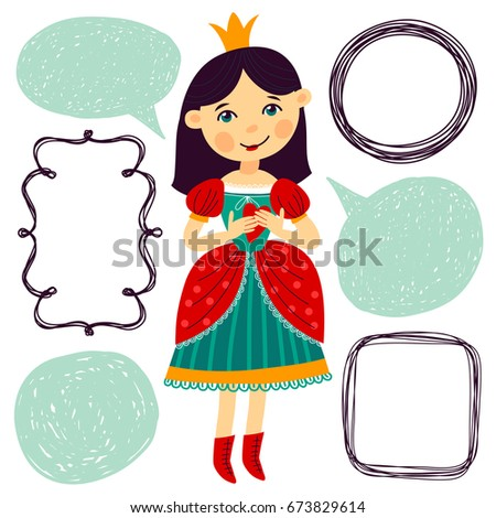 Illustration With Princess And Frames For Text Cartoon Style Template Greeting Card Print