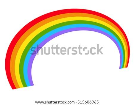 Illustration with rainbow shape in perspective - Rainbow shape isolated on white