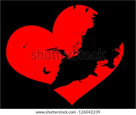 illustration with red broken heart on black background - stock vector