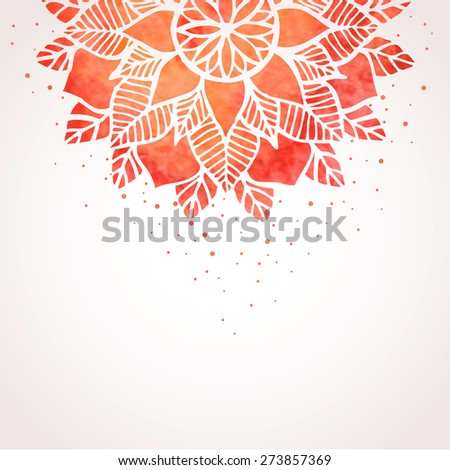 Illustration with red watercolor flower pattern on white background. Abstract lace oriental indian, boho style ornament. Vector element - stock vector