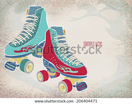 Illustration with retro roller skates on a gray  grunge background. Vector . - stock vector