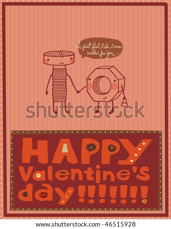 illustration with screw and nut on Valentine's Day - stock vector