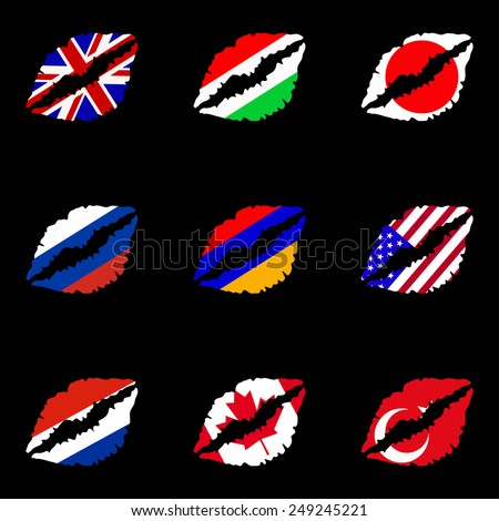 illustration with set of lips and flags - stock vector