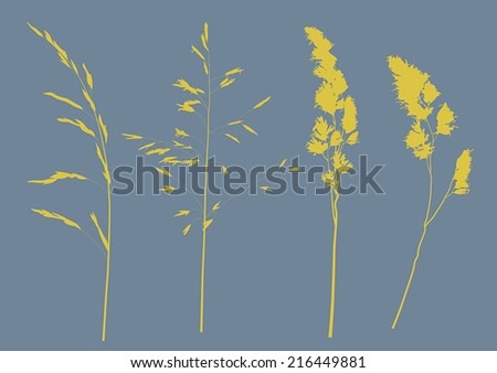 illustration with set of plant silhouettes isolated on blue background - stock vector