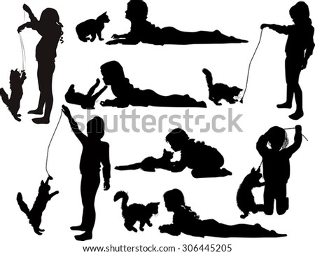 illustration with set of playing girls and cat isolated on white background