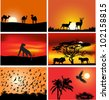 illustration with set of six animals at sunset compositions - stock vector