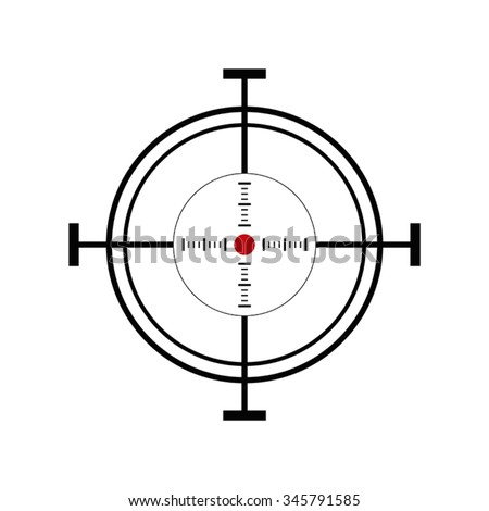 Illustration with shooting target icon on white background - stock vector