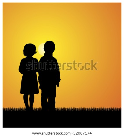 Illustration with silhouettes of children. Boy and girl standing on the grass. Above them shines the bright sun. - stock vector