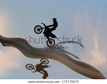 illustration with silhouettes of man on motorcycle
