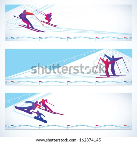 Illustration with skiers snowboarders.