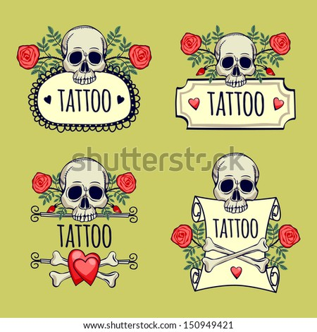 illustration with skull and crossbones with roses. tattoo. set - stock vector