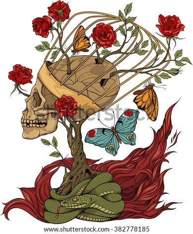 illustration with skull, bush of roses, snake and and flame - stock vector
