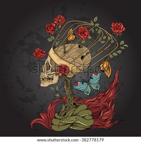 illustration with skull, bush of roses, snake and and flame. grey background - stock vector