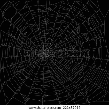 illustration with spider web isolated on black background - stock vector