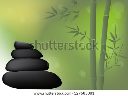 illustration with stones and bamboo on green background