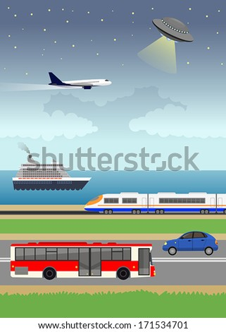 Illustration with stylized images of land, water and air transport - stock vector