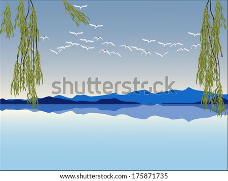 illustration with swans above lake near mountains - stock vector