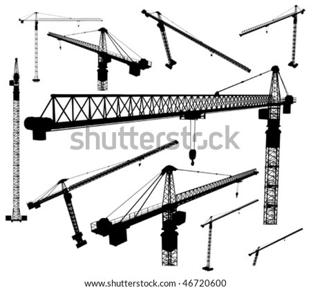 Illustration with Ten Elevating Construction Cranes Vectors silhouettes