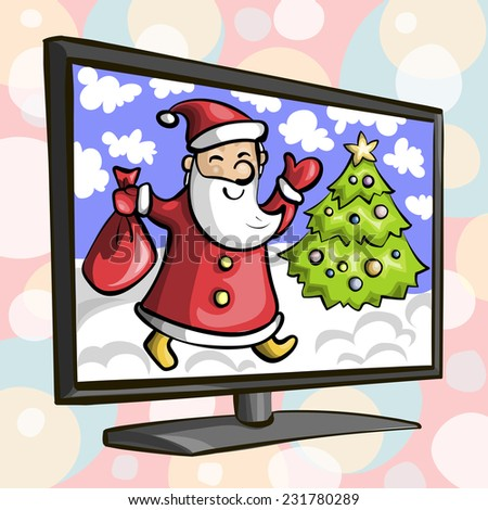 Illustration with the image of the TV of Santa Claus and Christmas tree on the screen