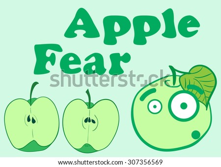 Illustration with the scared apple and a section apple - stock vector